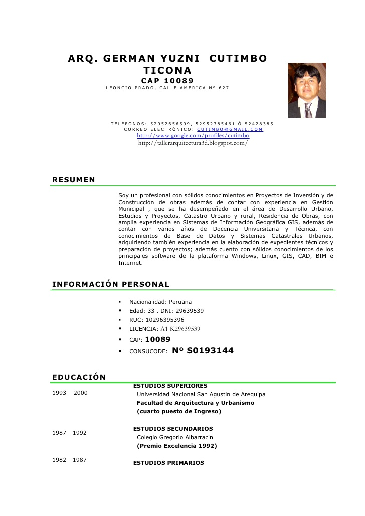 Modelo De Curriculum Vitae No Documentado En Word Modelo De