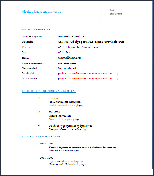 modelo de curriculum vitae simple en word